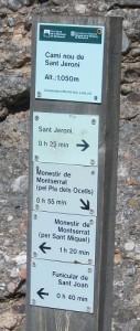 Indicación Camí nou de Sant Jeroni