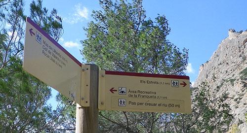 Cartel indicando Els Estrets