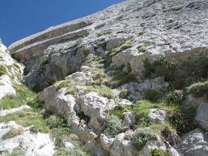 Pie de vía, con la 'segunda cueva' de la Gran Diagonal